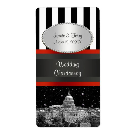 Wash DC Skyline Blk Wht Stripe P Party Wine Label Shipping Label