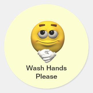 Wash Hands Please Round Sticker