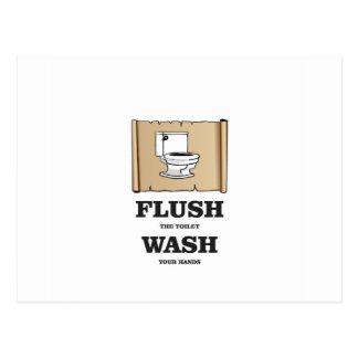 wash rules paper bathroom postcard