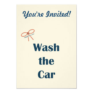 "Wash The Car Reminders 5"" X 7"" Invitation Card"