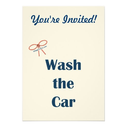 Wash The Car Reminders Personalized Invitations