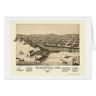 Washburn, WI Panoramic Map - 1886 Card