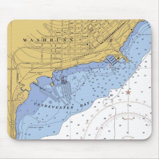 Washburn, Wisconsin  Nautical Chart mousepad