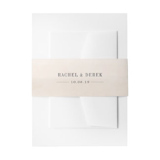 Washed Ivory Watercolor Personalized Wedding Invitation Belly Band