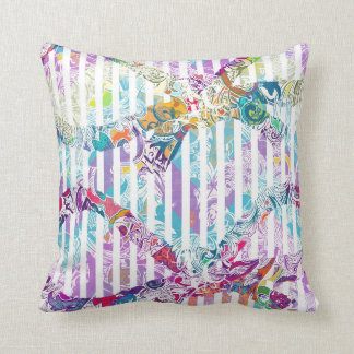 Washed Out Abstract and Stripes Pattern Throw Pillow