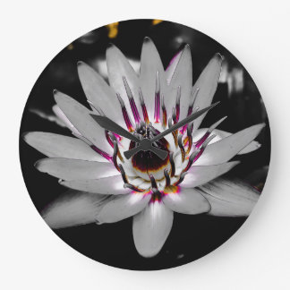 Washed out Water Lily Large Clock