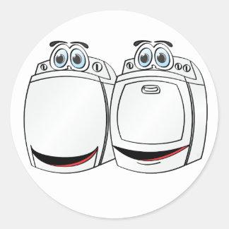 Washer Dryer Cartoon Classic Round Sticker