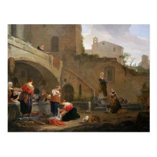 Washerwomen by a Roman Fountain Postcard