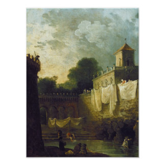 Washerwomen in the Moat of an Italian Villa Poster