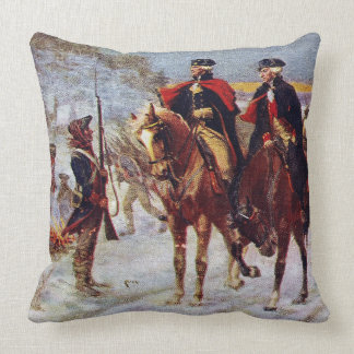 Washington and Lafayette at Valley Forge ~ Throw Pillow