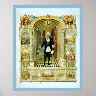 Washington as a Freemason ~ 1867 ~ Vintage Poster