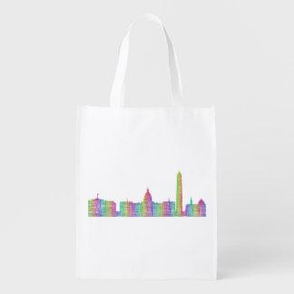 Washington city skyline reusable grocery bags