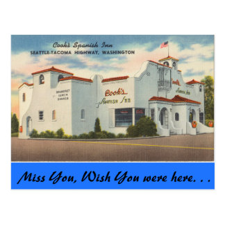 Washington, Cook's Spanish Inn, Seattle-Tacoma Postcard