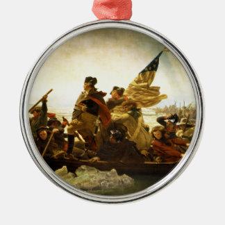 Washington Crossing the Delaware by Emanuel Leutze Silver-Colored Round Ornament