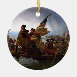 Washington Crossing the Delaware - Vintage US Art Ceramic Ornament