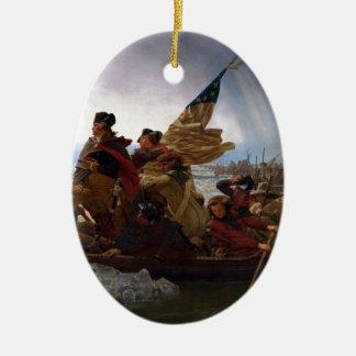 Washington Crossing the Delaware - Vintage US Art Ceramic Oval Ornament