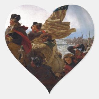 Washington Crossing the Delaware - Vintage US Art Heart Sticker