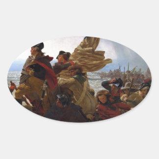 Washington Crossing the Delaware - Vintage US Art Oval Sticker