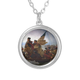 Washington Crossing the Delaware - Vintage US Art Silver Plated Necklace
