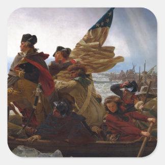 Washington Crossing the Delaware - Vintage US Art Square Sticker