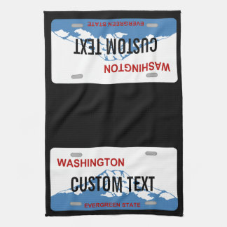 Washington custom license plate kitchen towel