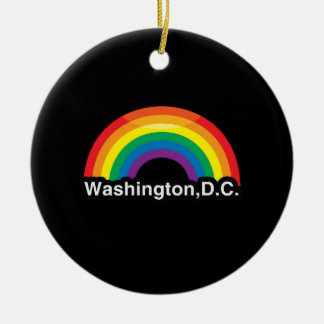 WASHINGTON D.C. LGBT PRIDE RAINBOW ROUND CERAMIC ORNAMENT