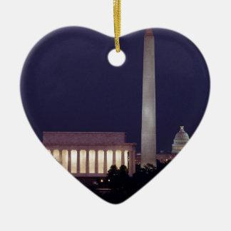 Washington DC 2 Ceramic Heart Ornament
