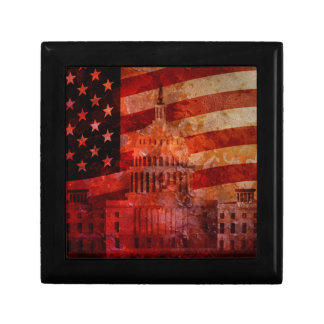 Washington DC Capitol US Flag Grunge Background Jewelry Box