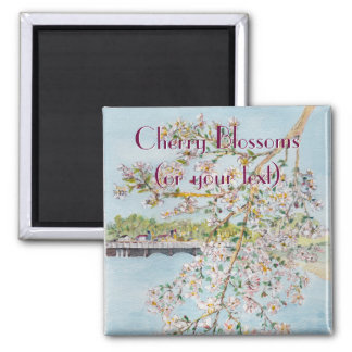 Washington DC Cherry Blossoms Watercolor Painting Refrigerator Magnets
