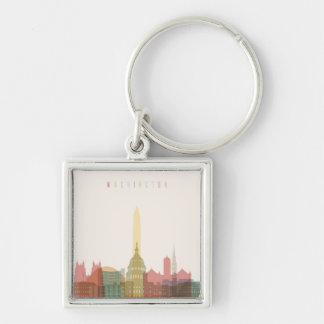 Washington, DC | City Skyline Silver-Colored Square Keychain