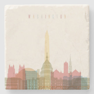 Washington, DC | City Skyline Stone Beverage Coaster