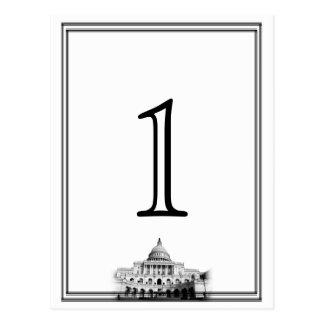 Washington DC Destination Wedding Table Number Postcards