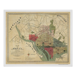 Washington DC Environs Map by Silversparre 1887 Poster