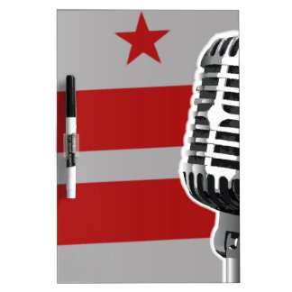 Washington DC Flag And Microphone Dry Erase Board