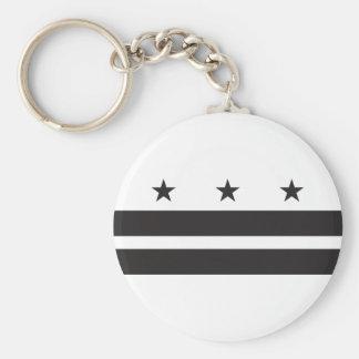 Washington DC Flag - Black Basic Round Button Keychain