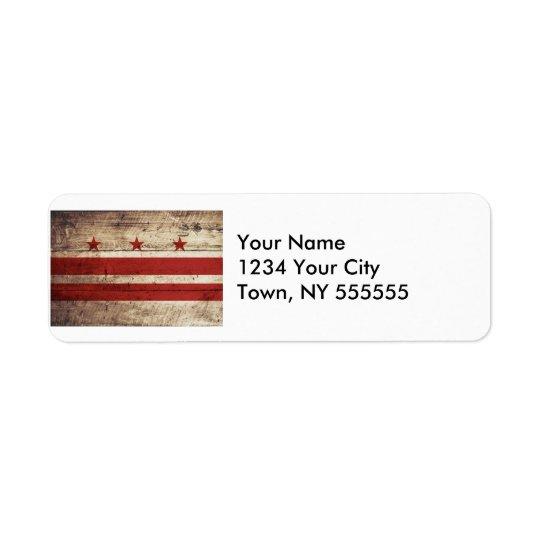 Washington DC Flag on Old Wood Grain Return Address Label