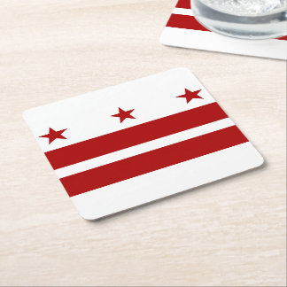 Washington DC Flag Square Paper Coaster