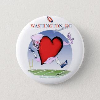 Washington DC head heart, tony fernandes 2 Inch Round Button
