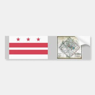 Washington DC  Map and Flag Bumper Sticker