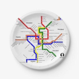 Washington DC Metro Subway Map Paper Plate