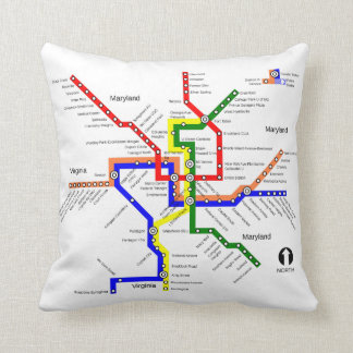 Washington DC Metro Subway Map Pillow