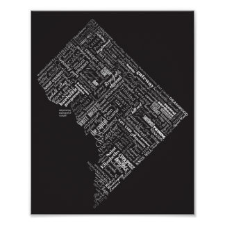 Washington DC Neighborhood Typography Dramatic B&W Poster