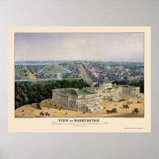 Washington, DC Panoramic Map - 1852 Poster