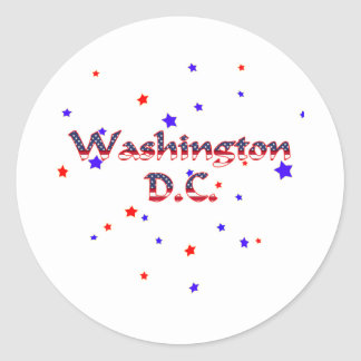 Washington DC Patriotic Stars Classic Round Sticker