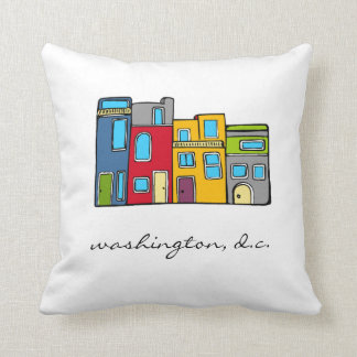 Washington DC Row House Pillow Art