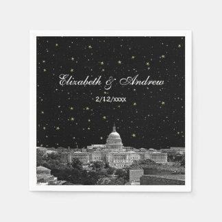 Washington DC Skyline Etched Starry Wedding Disposable Napkin