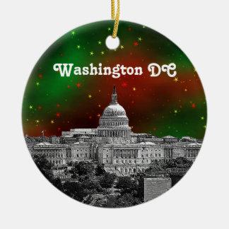 Washington DC Skyline Green Red Starry Sky Xmas Round Ceramic Ornament