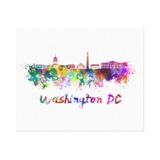 Washington DC skyline in watercolor Canvas Print