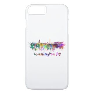 Washington DC skyline in watercolor iPhone 7 Plus Case