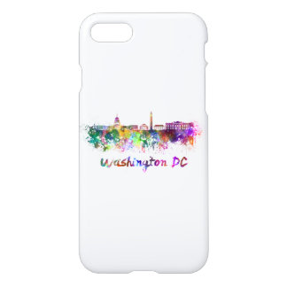 Washington DC skyline in watercolor iPhone 8/7 Case